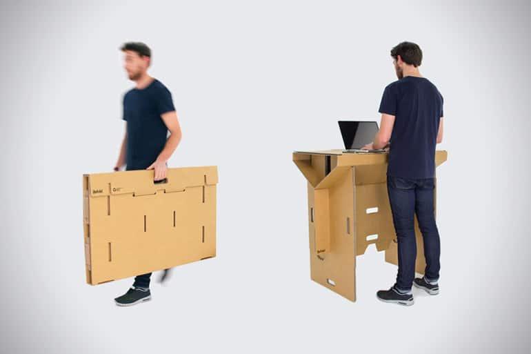 Składane, kartonowe biurko dla stojących